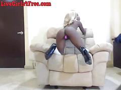 Stunning black webcam girl dildos pussy