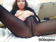 Cam slut masturbating with pantyhose on