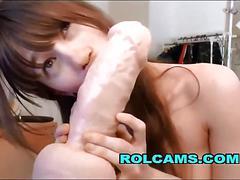 Sucking huge dildo on webcam