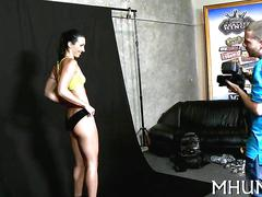 Posing slut shows small tits and fucks her photographer