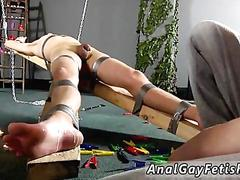 Skinny twink in duct tape bondage gets tickled and jacked off