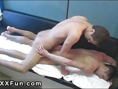 Super skinny twink starts a threesome with his cock loving friends