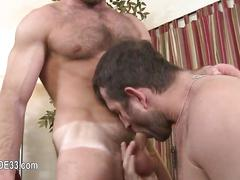 Hairy bald stud eats ass in 69 and gets fucked