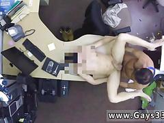 Hairy chested hunk bangs a stud for cash in pawn shop