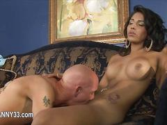 Big tits raven tranny sucked off by a tattooed white guy