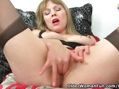 British and hard nippled milf abi toyne masturbates in black stockings