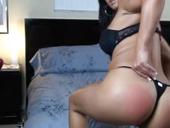 Brunette with big tits and big ass in workout outfit dildo riding!