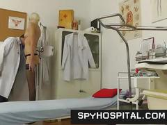 Tall skinny blonde in doctor office caught with hidden cam