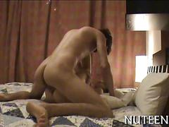 Amateur babe has a hot fuck and she cums spoon style