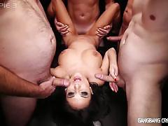 Big tittied french babe gangbang