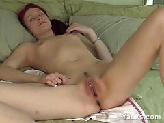 Hot brunette plays with her hot pussy