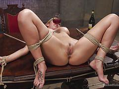 bdsm, big tits, eating pussy, fingering pussy, blonde babe, tattooed guy, rope bondage, sex and submission, kink, deanna dare, mr. pete