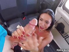 Beautiful little babe gets fucked in the backseat of a car
