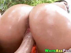 Big ass and big tits whore gets her pussy banged outdoors