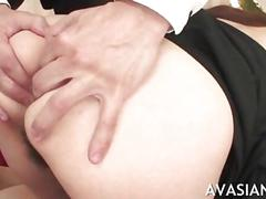 Slutty asian swallow cum after sloppy deepthroat