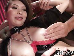 Asian porn star with big tits worshiped and fucked in group