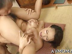 Hairy asian beauty gets fucked on the floor