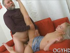 Teen blonde gets her shaved gash banged by an old man