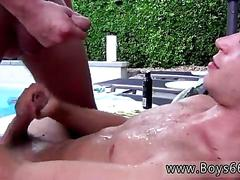 Sun bathing twink gets some sticky lotion on him