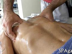 Oiled up white guy gets fucked by his hairy masseur
