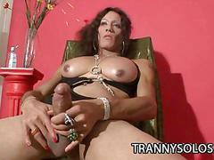 Karen - horny shemale stroking her hard cock