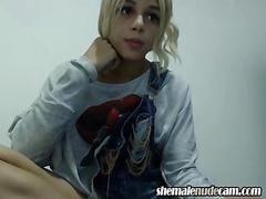 Gorgeous blonde teen jerking on her fat dick