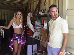 Hot mechanic chick emily austin fixes the car of keiran lee and another problem of his
