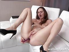 Sensual babe dildo fucks her warm pussy