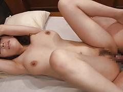 Japanese hottie rides her man's cock with her hairy twat