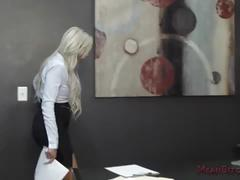 Mean boss nina elle makes her employee worship her ass