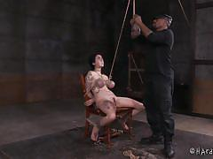 tattoo, ebony, tied, busty, vibrator, tits torture, brunette babe, weight on tits, rope bondage, hard tied, arabelle raphael, jack hammerx