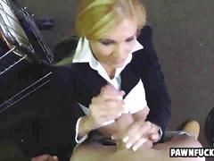 Smoking blonde professional woman sucks a big dick