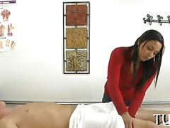 Asian hottie massages with her nude body and fucks