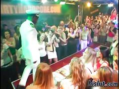 Slutty euro babes go wild at the sight of black strippers