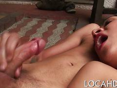 Drilling by a toy and thick cock clip