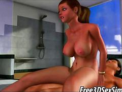 Busty 3d babe sucks cock and gets fucked hard