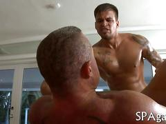 Big pierced masseur gets his ass rammed by a client