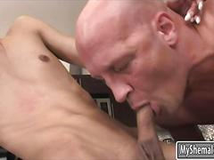 Flat chested tranny gets her juicy asshole slammed good
