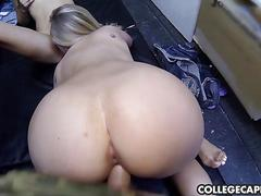 Two college hotties share one dick