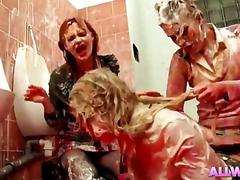 Russian ladies food fight bathroom