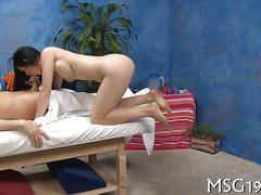 Busty brunette shows her true nature with a masseurs hard dick