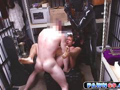 Gimp enjoys sucking blonde rockers cock inside the dungeon