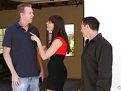 dana dearmond, brunette, blowjob, doggystyle, cumshot, facial, anal, double penetration, heels, threesome, ass fuck, mmf, dp, spit roast, sucking
