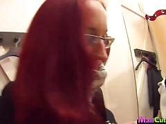 Amateur redhead swallows this hard cock