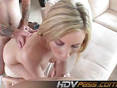cara dee, blowjob, hardcore, suck, facial, blonde, threesome, small tits, mmf, sucking