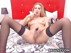 Blonde slut smokes and masturbates