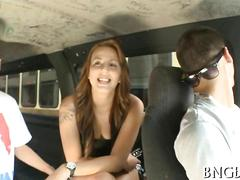 Big tits slut picked up for a bang bus pussy fucking