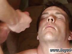 Cumming all over the face in a gang bang session
