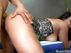 Tranny warms up for bareback sex with a veiny boner blowjob