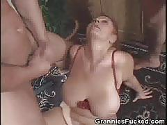 Granny doused with cum